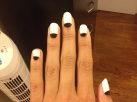 Black and white reverse-french mani!