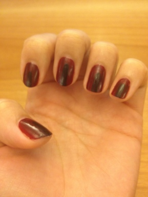 DIY: Oxblood w/Black Stripe Nails!